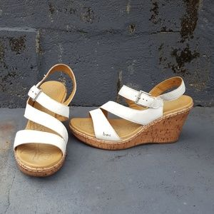 Born white cork heeled sandal